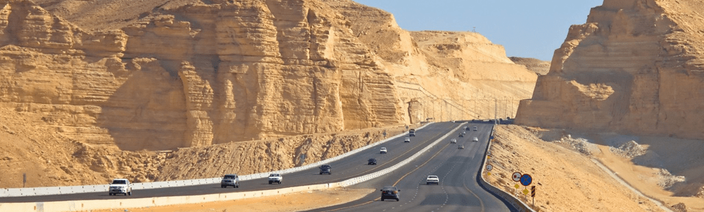 Wide roads in the desert. Always have your international driving permit/ international driving license/ national license with you